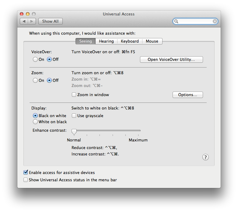 How to enable Accessibility in OS X